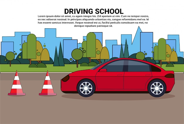 Driving school, vehicle on road, auto drive education practice exam concept