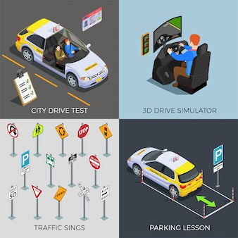 Driving school with compositions of traffic signs drive simulators cars illustration