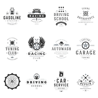 Driving schools and car services logos set. black club street racers with professional tuning repair. extreme driving training with service technical station. highspeed adventure and travel.