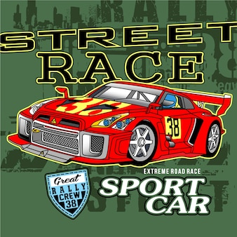 Driving street car race,vector car illustration