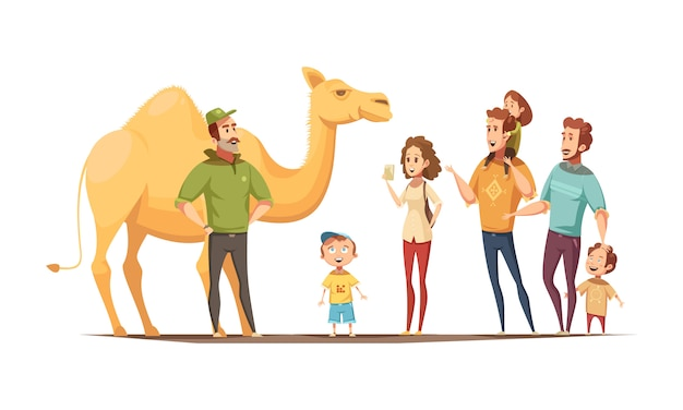 Dromedary camel riding instructor and group of curious kids