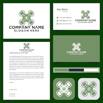 Drone abstarct logo and business card premium