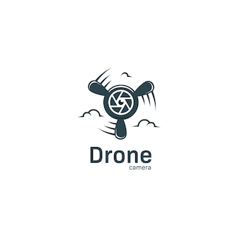 Drone camera logo with lens icon and plane propeller logo for aerial videography and photography studio agency