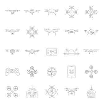 Drone camera quadcopter icons set