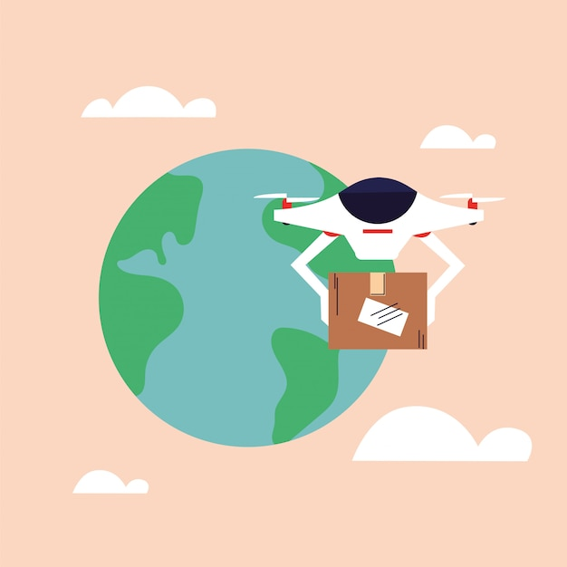 ドローンは航空便で配達される段ボール箱を運ぶ