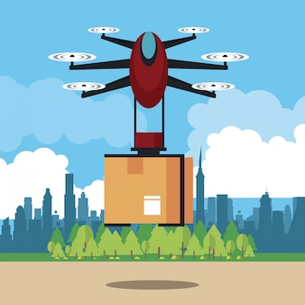 Drone delivering box at city