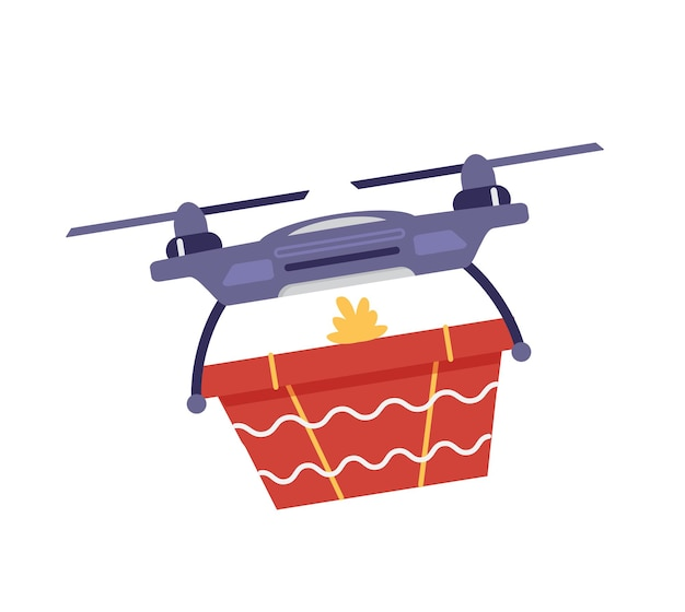 Drone delivering gift flat vector illustration. isolated on white.
