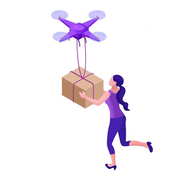 Drone delivering parcel to hipster girl