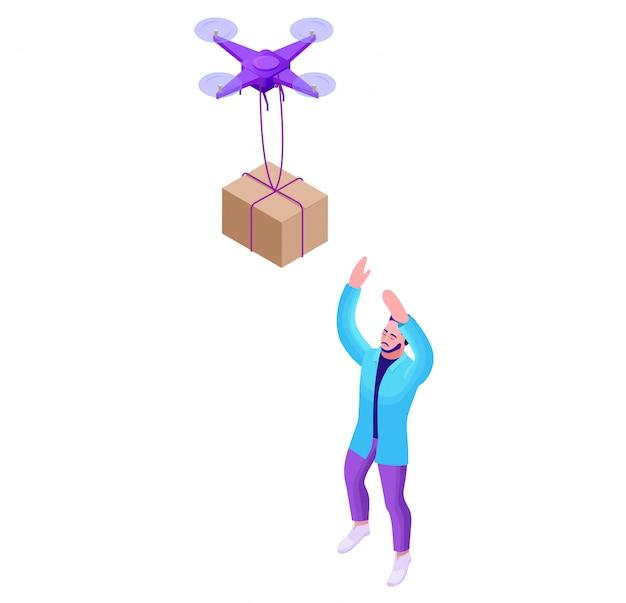 Drone delivering parcel to hipster man