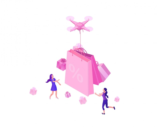 Drone delivering pink gift box
