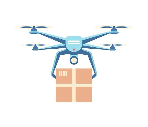 Дрон доставляет груз квадрокоптер несет коробку покупателю инновационный инструмент службы доставки