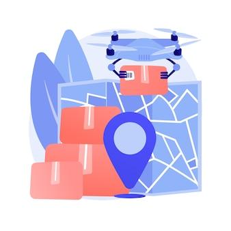 Иллюстрация абстрактной концепции доставки дрон