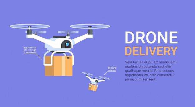 Drone delivery banner with template modern copters with boxes fly
