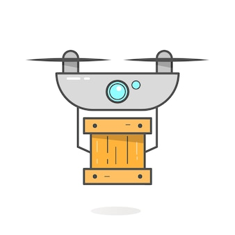 Концепция доставки drone. обслуживание вертолета или квадрокоптера, заказ, доставка по всему миру. современный дизайн векторные иллюстрации.
