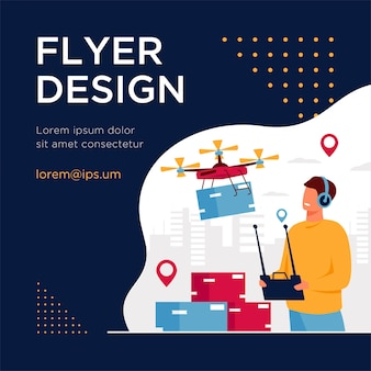 Drone delivery concept. delivery operator controlling quadcopter with postal or distributing box, sending mobile machine to city address. flyer template