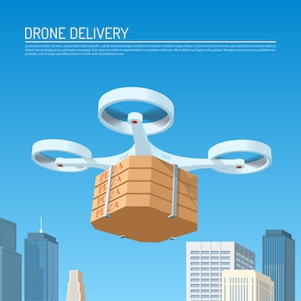 Drone delivery concept   illustration. quadcopter carrying a package with pizza