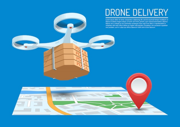 Drone delivery concept   illustration. quadcopter flying over a map and carrying a package with pizza.