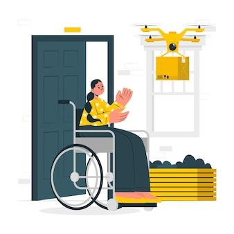 Иллюстрация концепции доставки дронов