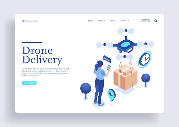 Drone delivery concept vector illustration drone flying over a map and carrying a package
