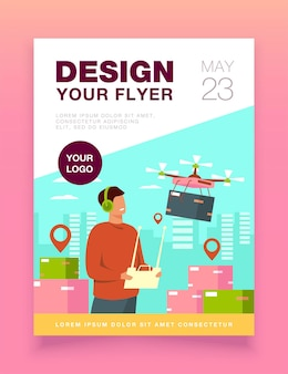 Drone delivery flyer template