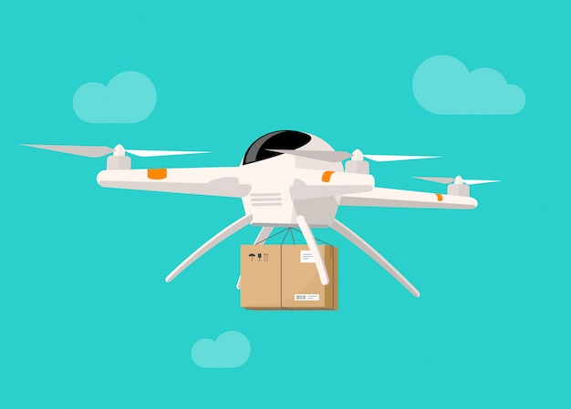 Drone delivery flying in sky shipping parcel box vector illustration flat style