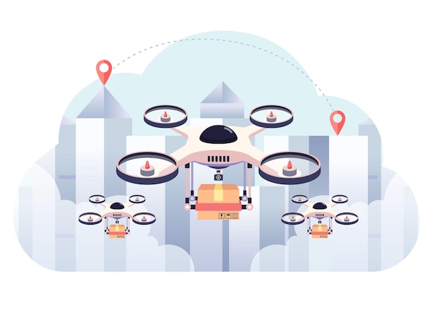 Drone delivery the package on city background. drone delivery business and shipment innovation concept.
