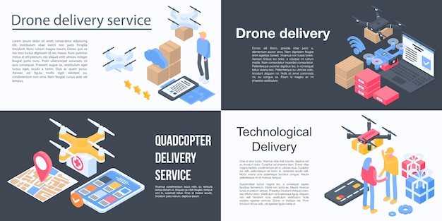 Drone delivery service banner set, isometric style
