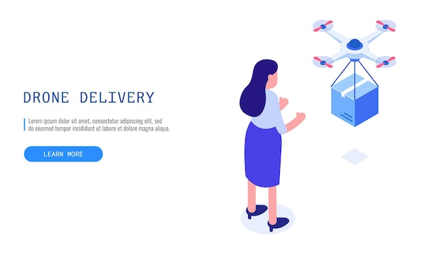 Drone delivery service. drone delivered a box to a female customer. isometric vector web banner.