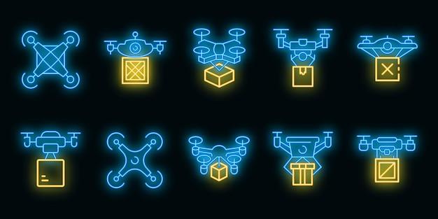 Drone delivery service icons set. outline set of drone delivery service vector icons neon color on black