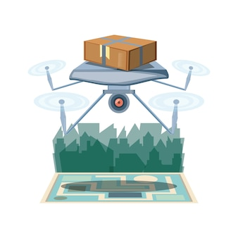 Drone delivery service with box and cityscape icon vector ilustration