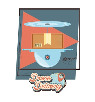Drone delivery service with box icon vector ilustration