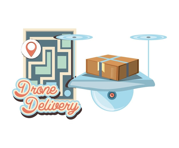 Drone delivery service with paper map icon vector ilustration