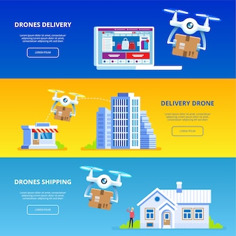Drone delivery set of  illustrations