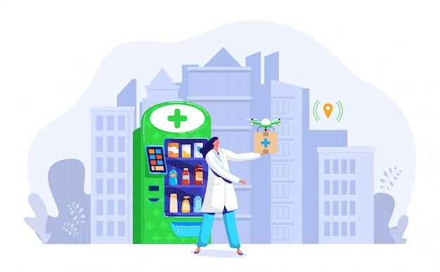 ドローンドラッグデリバリーイラスト、ドローン、白で隔離される空気で高速配送ボックスを保持している漫画フラットドクター薬剤師のキャラクター