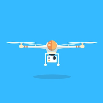ドローンフライングエアクワドロコプター漫画の隔離されたロゴアイコン