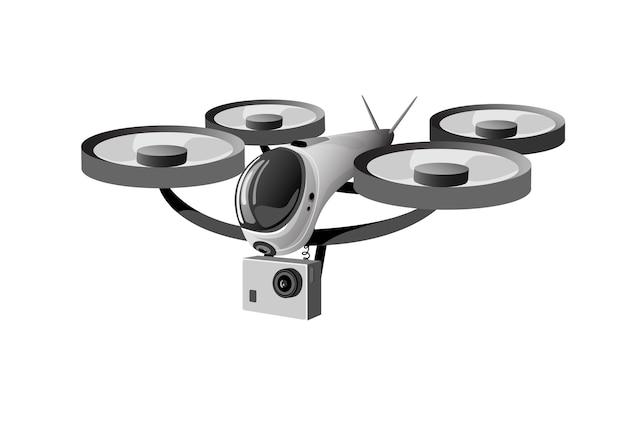 Изолированный значок логотипа drone flying air quadrocopter