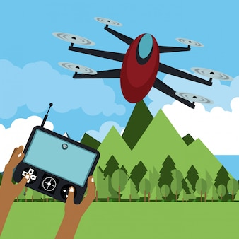 Drone flying in nature