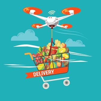 비즈니스 및 산업의 식료품 물류 서비스를위한 드론