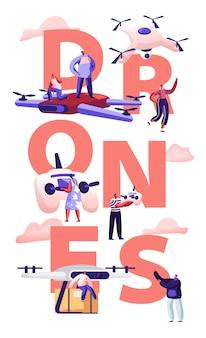 Концепция почтовой службы drone футуристические технологии. мультфильм плоский иллюстрация