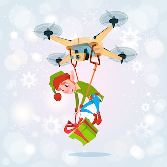 Drone green elf delivery present