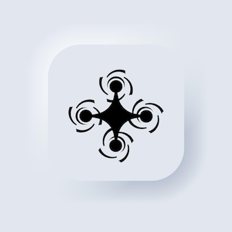 Иконка дрон в черном. знак квадрокоптера. логотип дрона. белая веб-кнопка пользовательского интерфейса neumorphic ui ux. неоморфизм. вектор eps 10.