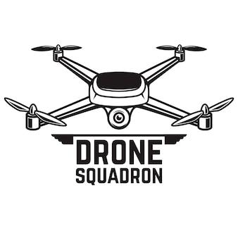 白い背景のドローンイラスト。 quadcopterアイコン。ロゴ、ラベル、エンブレム、記号の要素。図