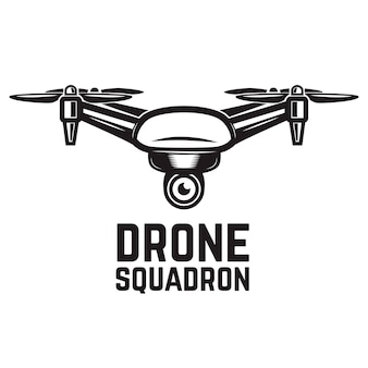 Drone illustration  on white background.  elements for logo, label, emblem, sign.  illustration