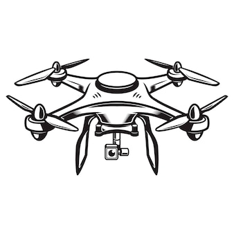 Drone illustration  on white background. quadcopter icon.  element for logo, label, emblem, sign.  illustration