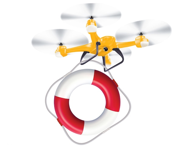 Drone lifebuoy delivery realistic creative illustration