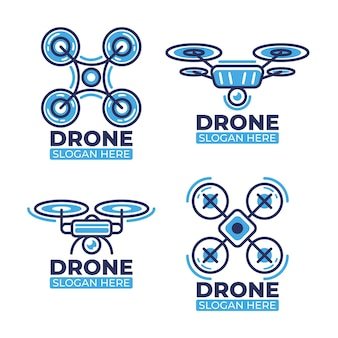 Drone logo collection flat design
