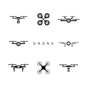 Дизайн логотипа drone, набор значков drone