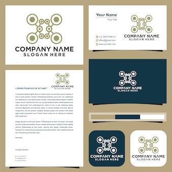 Шаблон дизайна логотипа дрон и визитная карточка