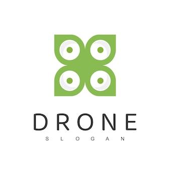 Drone logo design template farming drone nature aerial logo