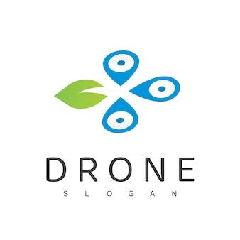 ドローンロゴデザインテンプレート農業ドローン自然空中ロゴ